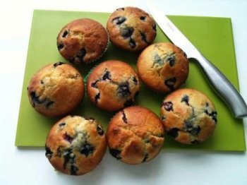 Blueberry Muffins on Green Board